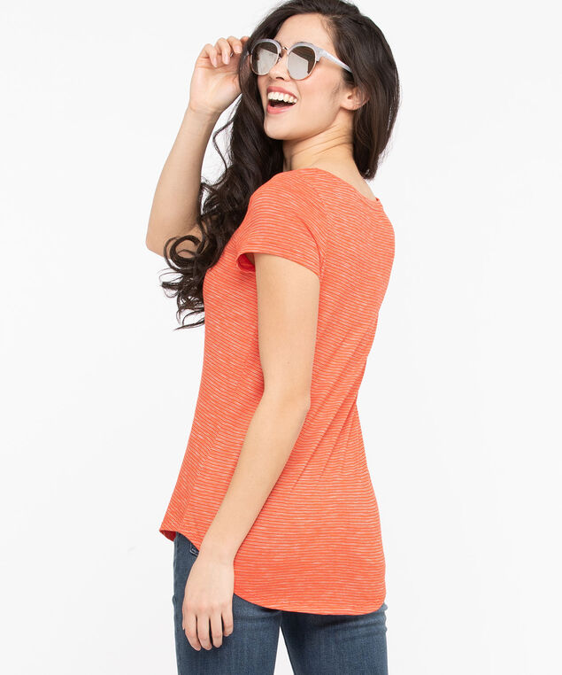 Short Sleeve Scoop Neck Tee, Orange/Pearl, hi-res