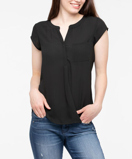 Short Sleeve Pleated Henley Blouse, Black, hi-res