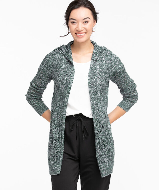 Hooded Pointelle Knit Cardigan, Teal Mix