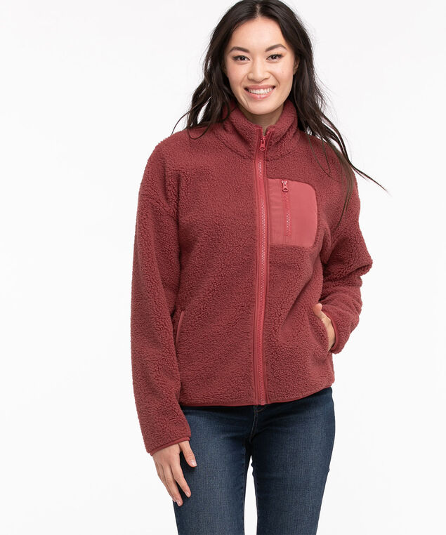 Zip Front Sherpa Jacket, Earth Red
