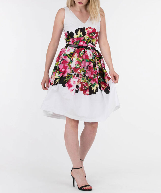 Sleeveless Belted Fit & Flare Dress, White/Pink/Cherry/Black, hi-res