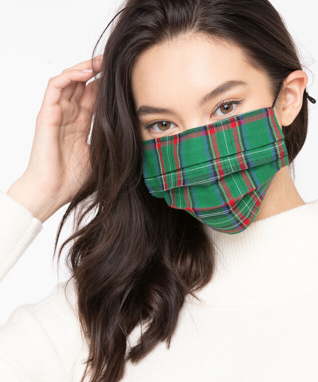 Plaid/Solid Face Mask 2-Pack, Green, hi-res
