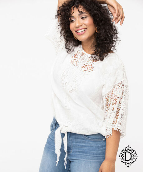 Democracy Embroidered Tie Front Blouse, Pearl, hi-res