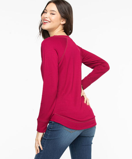 French Terry Curved Hem Pullover, Biking Red, hi-res