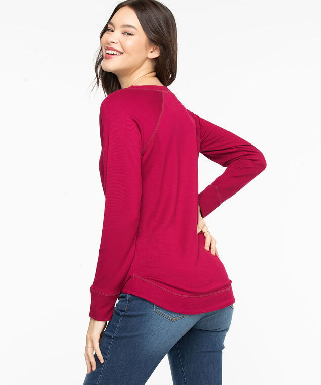 French Terry Curved Hem Pullover, Biking Red