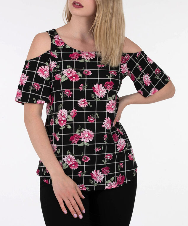 Cross Back Cold Shoulder Top, Black/Primrose/Cameo Pink, hi-res
