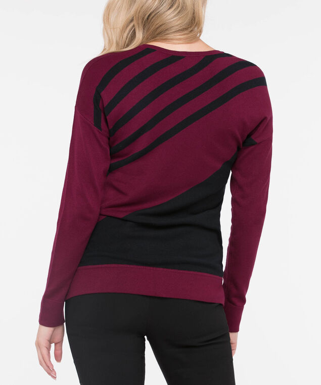 Diagonal Stripe Scoop Neck Sweater, Burgundy/Black, hi-res