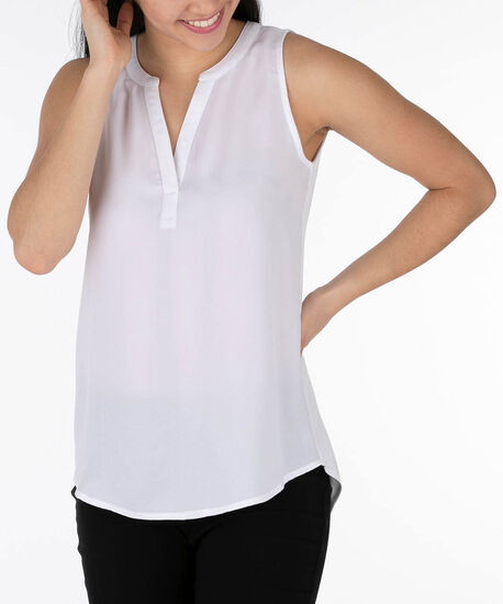Sleeveless Henley Top, True White, hi-res