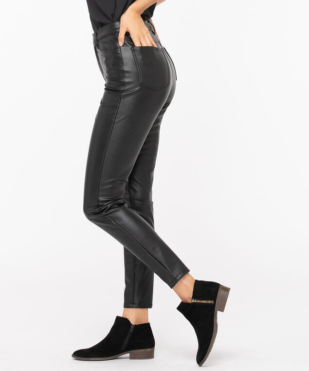 Faux Leather Button Front Skinny Leg, Black