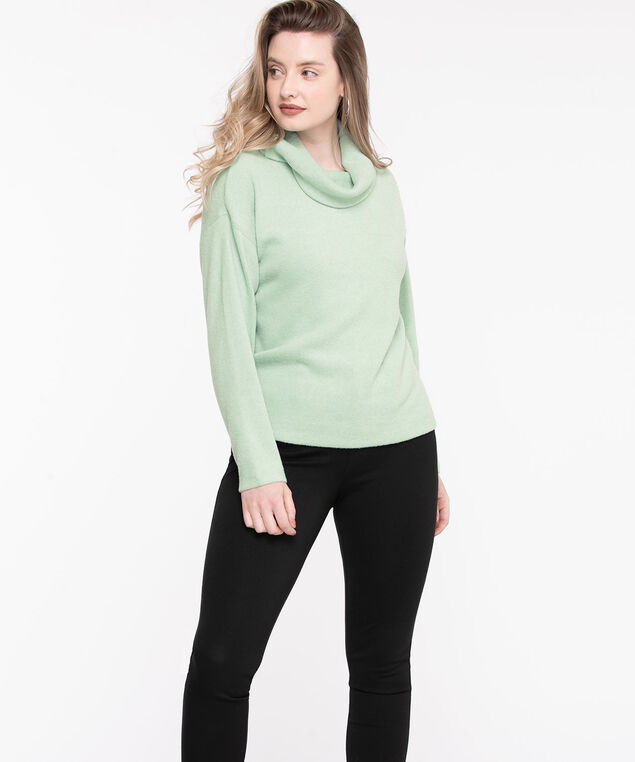 Cowl Neck Long Sleeve Top, Sea Foam Green
