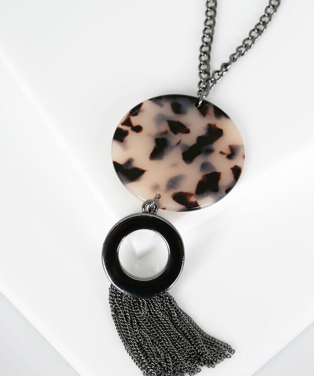 Resin Disc & Tassel Pendant Necklace, Hematite/Almond, hi-res