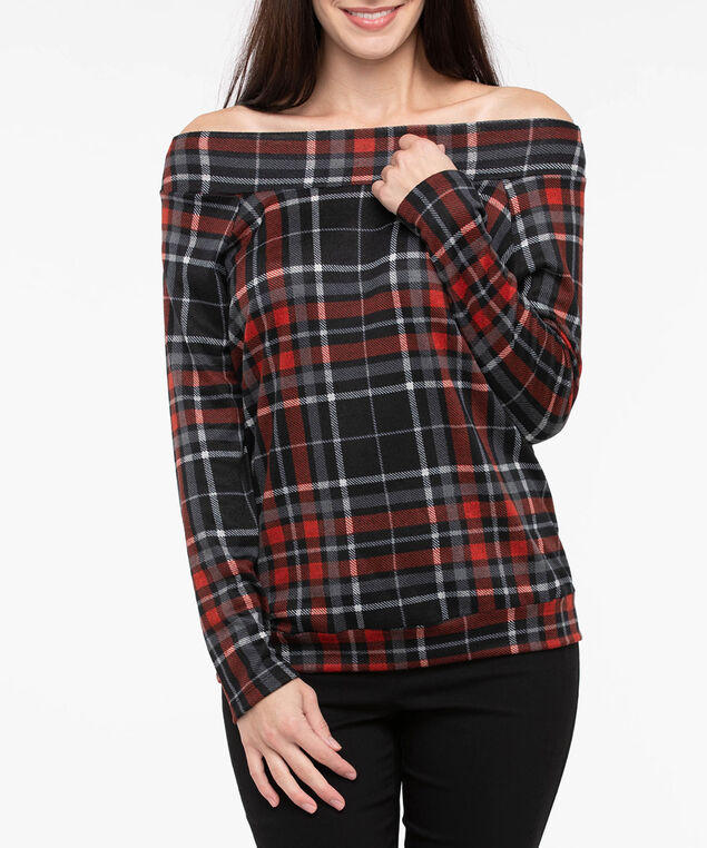 Plaid Slouch Shoulder Pullover, Crimson/Black/Pearl, hi-res
