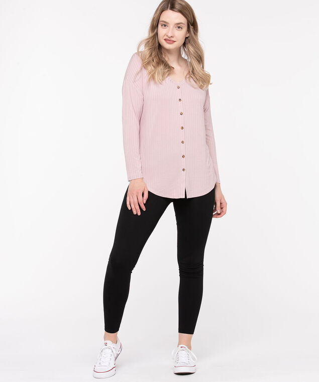 Soft Ribbed Button Front Top, Soft Mauve, hi-res