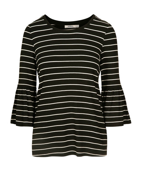 3/4 Flounce Sleeve Top, Black/White, hi-res