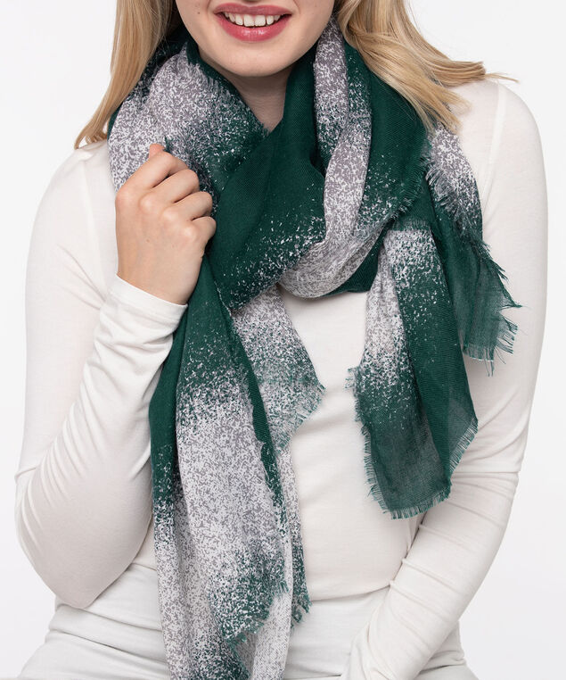 Ombre Stripe Oblong Scarf, True White/Mid Heathered Grey/Ivy, hi-res