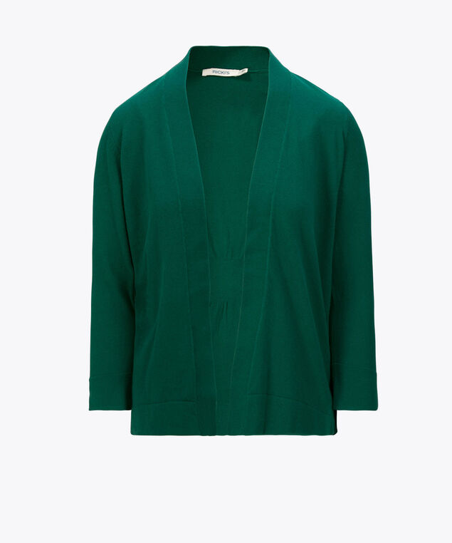 Cinch-Back Open Cardigan, Emerald, hi-res
