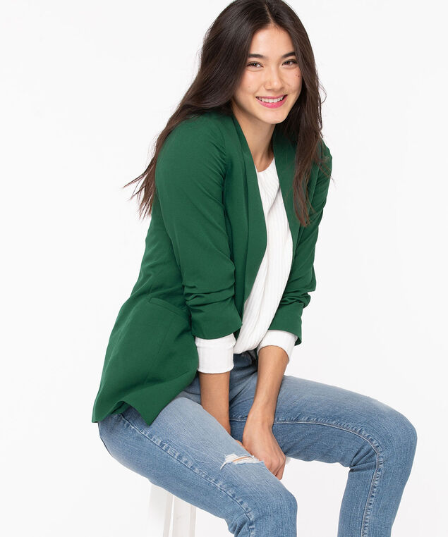 Soft Woven Stretch Open Blazer, Emerald, hi-res