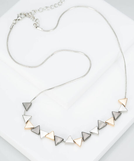 Mixed Metal Triangle Necklace, Gold/Hematite/Rhodium, hi-res