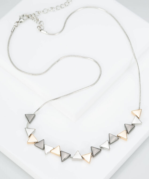 Mixed Metal Triangle Statement Necklace, Gold/Hematite/Rhodium, hi-res