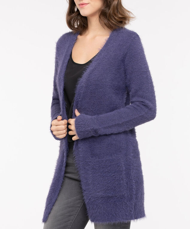 Feather Yarn Patch Pocket Open Cardigan, Blue Fog, hi-res