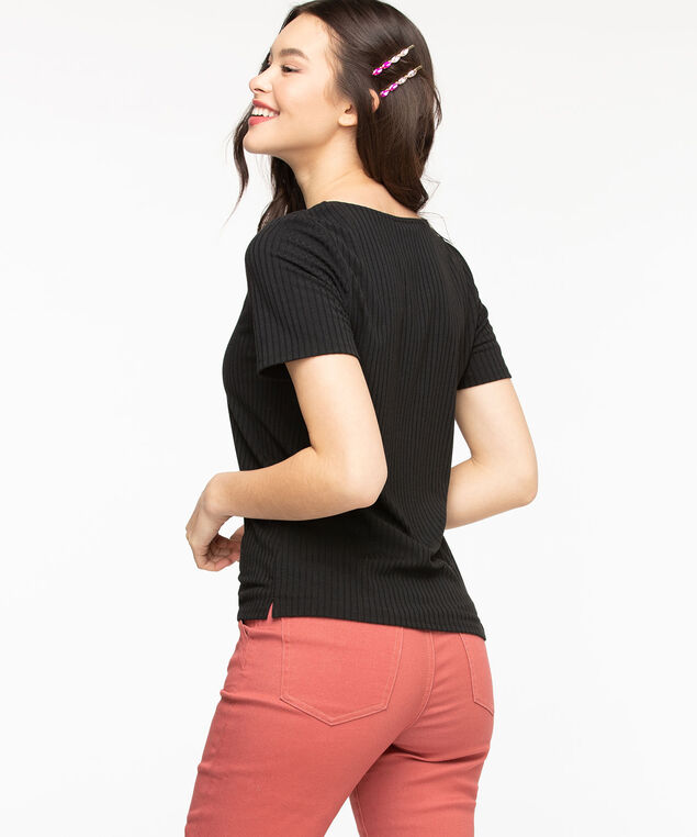 Ribbed Scoop Neck Tee, Black