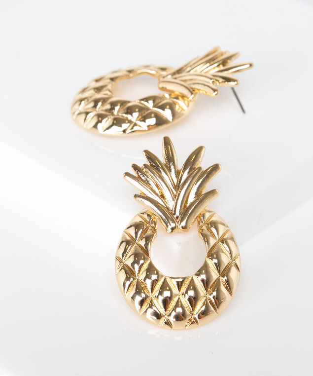 Golden Pineapple Earring, Gold, hi-res