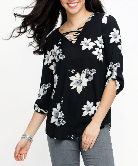 Cross Front Roll Sleeve Blouse, Black/Pearl/Grey, hi-res