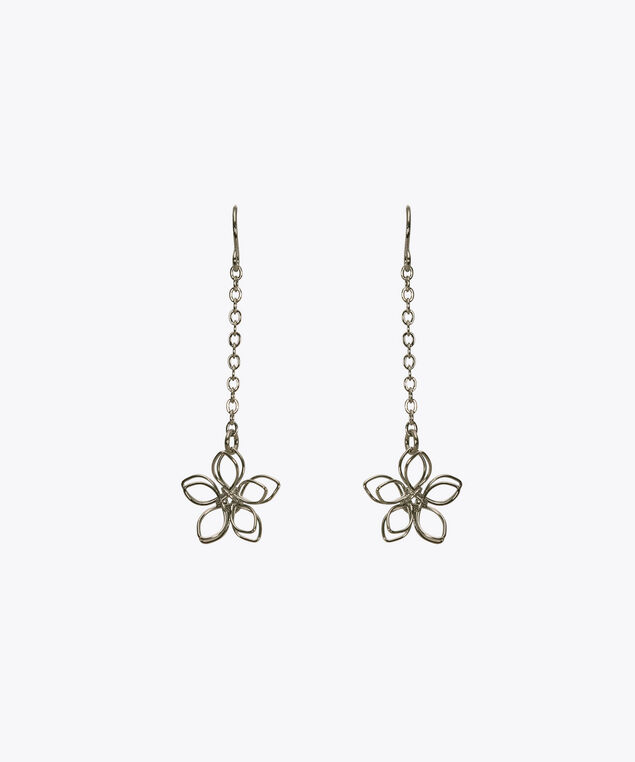 Wire Flower Drop Earring, Rhodium, hi-res
