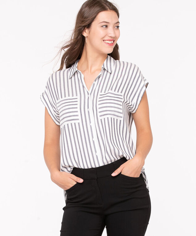 Dolman Cap Sleeve Collared Blouse, Black/Pearl
