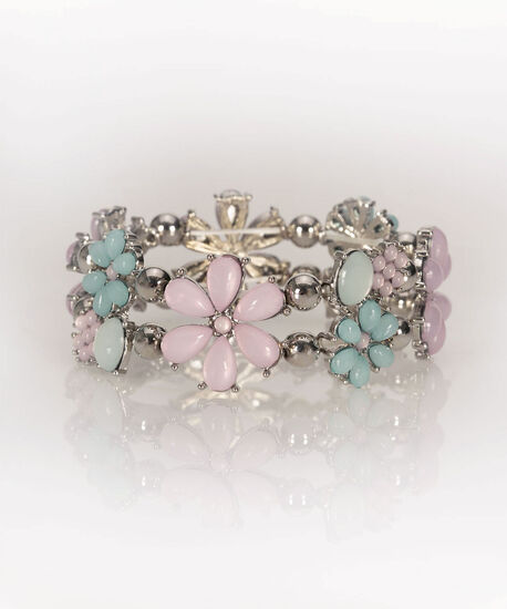 Pastel Flower Stretch Bracelet, Iced Violet/Pastel Blue, hi-res