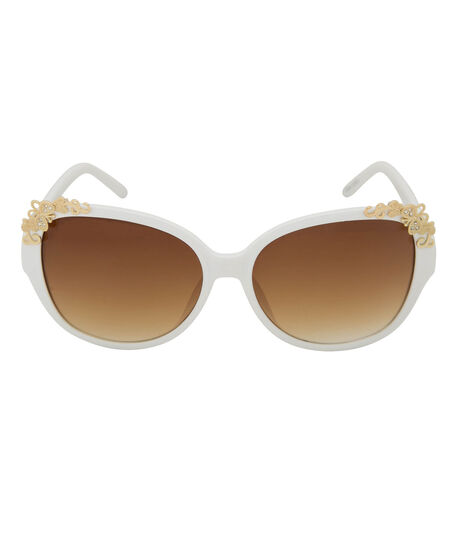 Butterfly Detail Square Sunglasses, White/Gold, hi-res