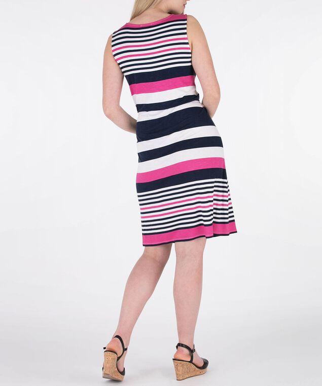 Crochet Trim Striped Sleeveless Dress, Pink/Summer Navy/White, hi-res