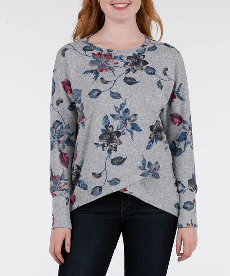 Long Sleeve Crossover Hem Top, Grey/Ink Blue, hi-res