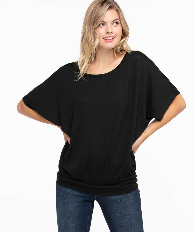 Extended Sleeve Banded Bottom Top, Black