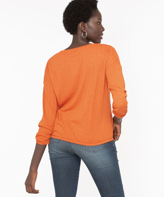 Textured Drawstring Waist Top, Pumpkin