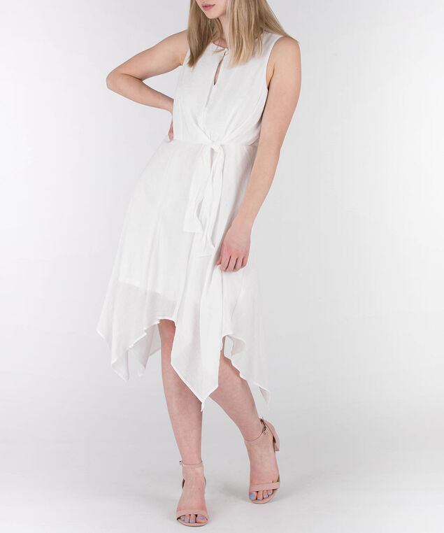 Sleeveless Tiered Gauze Dress, White, hi-res