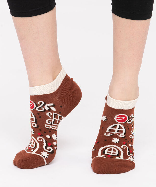 Festive Gingerbread House Ankle Socks, Brown/Ivory/Red
