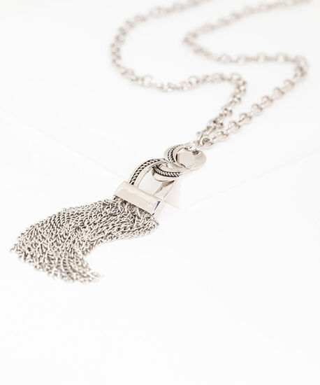 Silver Tassel Chain Link Necklace, Silver, hi-res