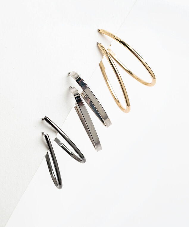 Oval Earring 3-Pack, Gold/Silver/Black
