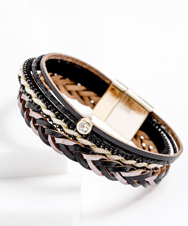 Black Multistrand Faux Leather Bracelet, Black/Grey/Gold