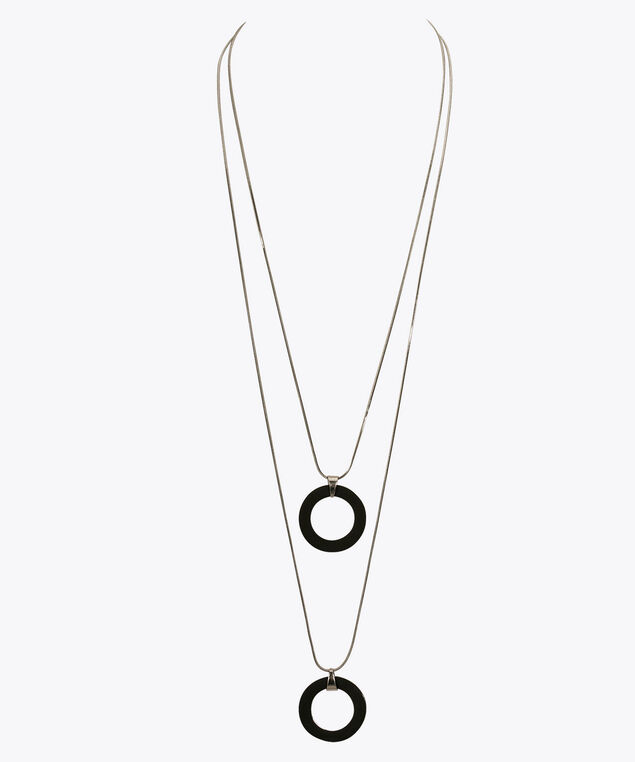Double-Strand Hoop Pendant Necklace, Black/Rhodium, hi-res