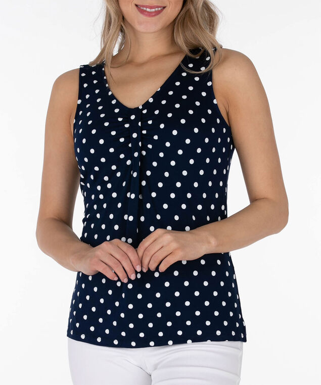 Sleeveless Tab Front Top, Summer Navy/White, hi-res