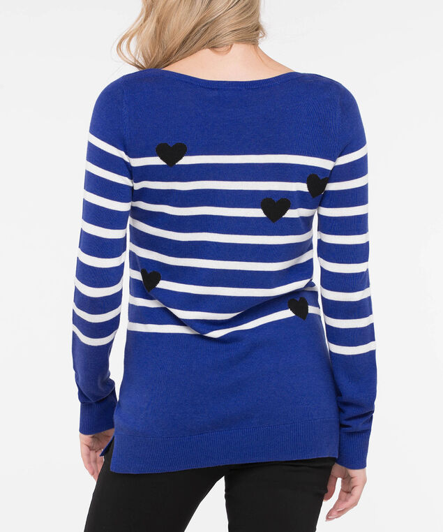 Hearts & Stripes Boatneck Pullover, Cobalt/Pearl/Black, hi-res