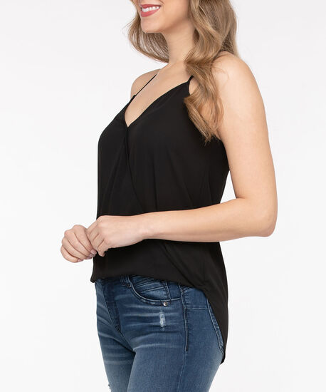 Sleeveless Wrap Front Blouse, Black, hi-res