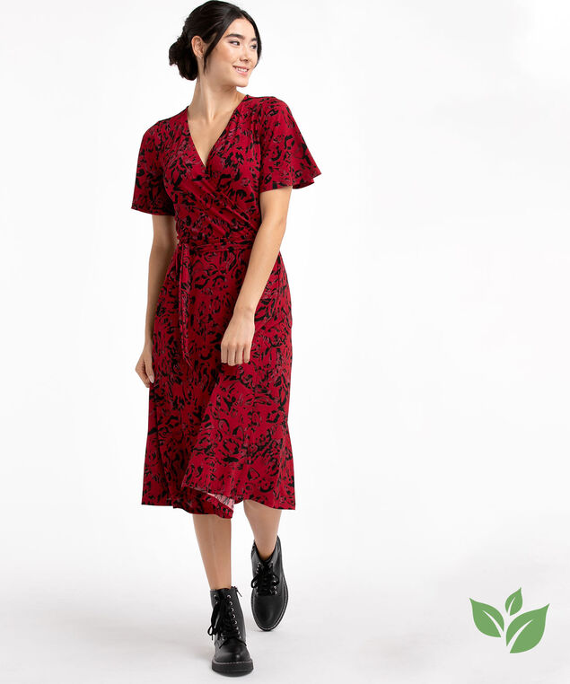 Eco-Friendly Belted Wrap Dress, Red Animal