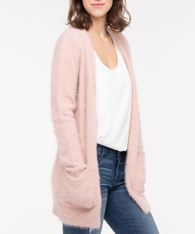 Feather Yarn Patch Pocket Cardigan, Dusty Blush, hi-res