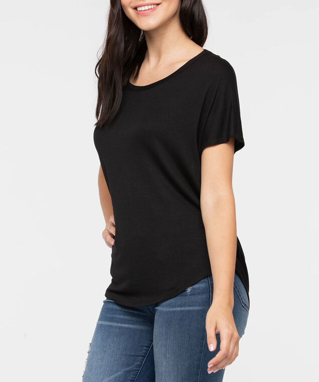 Short Sleeve Cowl Back Top, Black, hi-res