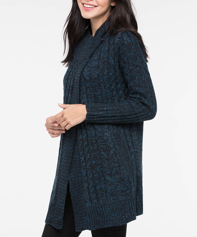 Cable Knit Funnel Neck Cardigan, Steel Blue Mix, hi-res