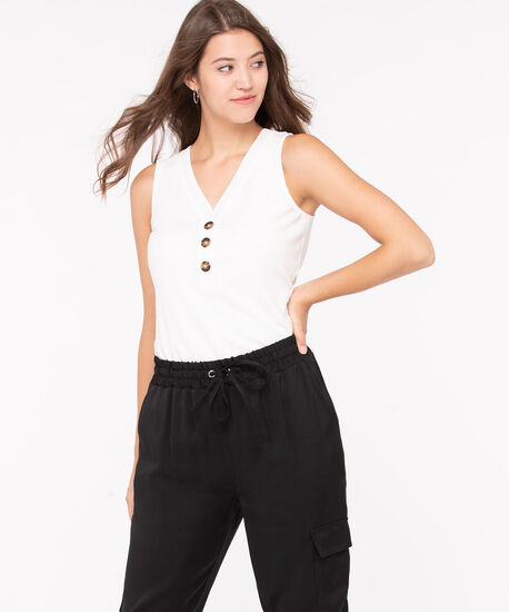 Sleeveless Button Ribbed Henley Top, Pearl, hi-res