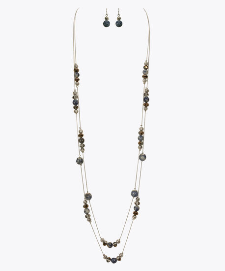 Stationed Marble Bead Necklace & Earring Set, Rhodium/Sky Blue, hi-res